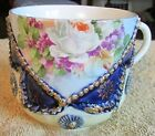 NICE OLD GERMANY PORCELAIN FLORAL TRANSFERWARE & COBALT BLUE ACCENTED CUP