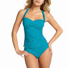2 Pieces Tied-up Halter Tankini Top with Bikini Bottom Swimwear Swmsuit Blue