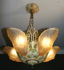 1920s antique amber glass slip shade art deco light fixture ceiling chandelier