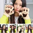 Lovely Bear's Paw Cat Paw Girl Mitten Furry Thick Half Finger Gloves Mitts New Y