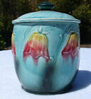 Antique French Majolica Tobacco Jar tulips floral bell Art Nouveau ORCHIES 1900