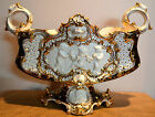 Italian Porcelain Rococo Hand Painted Centerpiece Bowl Cherubs Putti Gilt Gold