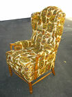 Vintage Early American Green Wingback Accent ARM CHAIR Mid Century Deco