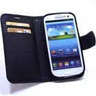 Samsung Galaxy S3 III i9300 Leather Flip Case Cover Pouch Card Holder Black-SR
