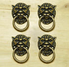 Lot of 4 pcs Vintage LION Head Antique Brass Cabinet Handle Knob Drawer pulls