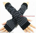 GREY BLACK STRIPE KNIT CROCHET ARM/LEG WARMER FINGERLESS GLOVES NEW