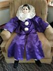 Vintage Porcelain Sad Pierrot Clown Doll, Large 43
