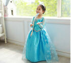 New! HOT! Frozen Disney Princess Girl Queen Elsa Anna Cosplay Costume 7-8 Years