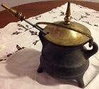Vintage Antique Fire Starter Smudge Pot Cauldron Cast Iron Brass Kerosene Oil