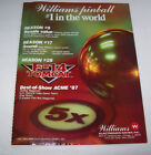1987 WILLIAMS F-14 TOMCAT PINBALL MACHINE VINTAGE ADVERTISING NOT A FLYER