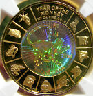 2004 GOLD VIETNAM HOLOGRAM Year of Monkey Noble Coin NGC PF70 PERFECT GEM PROOF