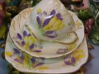 Vintage Roslyn Flowers 3 Piece Trio Set Bone China Tea Cup & Saucer & Plate