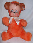 Vtg Orange Rubber Face Sad Pouting Teddy Bear Plush 13