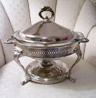 VINTAGE SILVER PLATED CASSEROLE CHAFING DISH LID WITH ANCHOR OVENWARE GLASS DISH