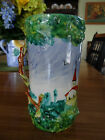 Vintage Majolica Pitcher Stein Vase Hand Made Painted Pottery Scenery Church