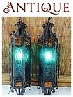 RARE 2 Vintage Wrought Iron & Blue Glass Hanging Swag Light Fixture Lamp Sconce