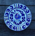 Deruta Italy Hand Painted Dinner Plate by L'Antica Blue Rooster 9 7/8