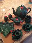 Lot Lefton Green Holly Tea Pot Sugar Creamer Salt Pepper Tree Dish Candle Holder