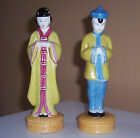 Mid-Century Moriyama Chinese Man and Woman Pair Figurines Made in Occupied Japan