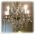 Vintage Five Arms Solid Brass Chandelier Crystal Prisms And Beads