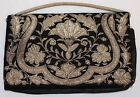 Antique Vintage Hand Beaded Velvet Clutch Evening Purse Black/Silver