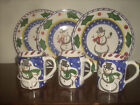 Herend Village Pottery Snowman 3-dessert, 3- mugs new perfect