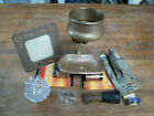 LOT, ANTIQUE COLLECTIBLE VICTORIAN BRASS SOAP DISH, CUP HOLDER, SHAVING BRUSH.