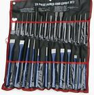 28pc Punch  Chisel Chisle Set Cold Taper Center Pin Metal Steel + Storage Pouch