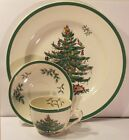 Spode Christmas Tree Dinner Plate Cup Saucer 3 Pc Buffet Set in Box