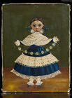 AGAPITO LABIOS PORTRAIT OF GIRL WITH FLOWERS GREEN BACKGR FINE MEXICAN PAINTING