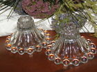 ~2 Anchor Hocking CLEAR Berwick BOOPIE Glass BUBBLE Single Candle Stick HOLDERS~