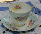 Duchess Bone China Pink Blue Floral Gold Trim Teacup & Saucer - Made in England