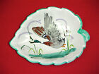 VINTAGE ITALIAN ART HAND MADE PAINTED CERAMIC SMALL DECORATIVE LEAF SHAPED BOWL