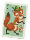 Single Vintage Swap/Playing Card - Whitman Animal Rummy -F2 SLY FOX