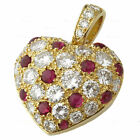 CARTIER 18k Yellow Gold Diamond Ruby Heart Charm Pendant