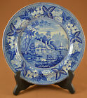 Ridgway Cottages and Castle British Scenery Blue Staffordshire Transfer Plate