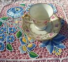 Vintage Bavaria Schumann Roses and Gold Filigree Tea Cup and Saucer Set