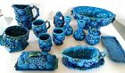 OLD Japan Inarco Blue Ceramic Pitcher Candle Stick Holder Butter Dish Bowl Set