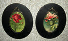 LUSH PINK & RED ROSES ~ C KLEIN ~ OLD OVAL WOOD & GESSO FRAMES ~ OLD WAVY GLASS