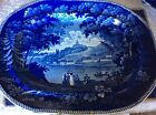 Historic Flow Blue Italian Scenery Turin Platter 19x14.5-Antique 1825-1835
