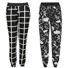 LADIES WOMENS CHECK SKULL ROSES PRINTED BAGGY HAREM POCKET PANTS TROUSERS 8 - 14
