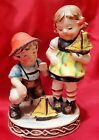 VINTAGE UCAGCO HUMMEL STYLE BOY & GIRL WITH SAILBOATS FIGURINE - OCCUPIED JAPAN