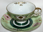 2pc Vintage Ucagco China Cup Saucer Lot Footed Floral Asian Japan Hand Painted