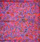 cotton quilt fabric Tiffany Windows Hoffman BRIGHT abstract print red purple 1yd