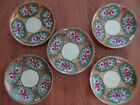 ANTIQUE NIPPON 5 PORCELAIN Tea plates HAND PAINTED Pink Flowers GOLD LEAF