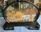VINTAGE BLACK LACQUER CASE WITH ORIENTAL SCENE UNDER GLASS