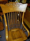 antique Oak arm chair Bentwood arms pressed back solid seat refinished 1900's