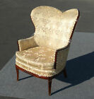 GORGEOUS Vintage Ornate Wingback ARM CHAIR French Provincial Gold Silk Brocade