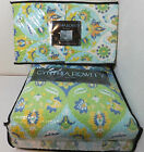 NEW - Cynthia Rowley FULL/QUEEN Quilt Set White/Blue-Yellow Multi PRETTY PRINT!