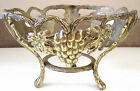 BRASS THREE FOOTED CENTER PIECE W/THREE GRAPE PATTERNS EMBOSSED